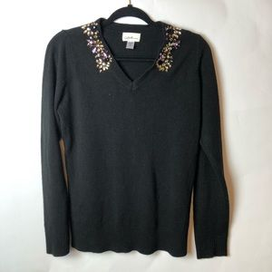 Jaclyn Smith Collections Black Jeweled Sweater